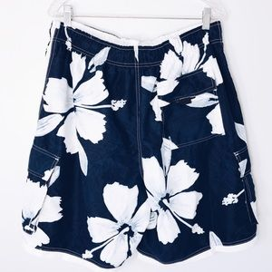 Men's Hawaiian Blue White Swim Trunks Shorts
